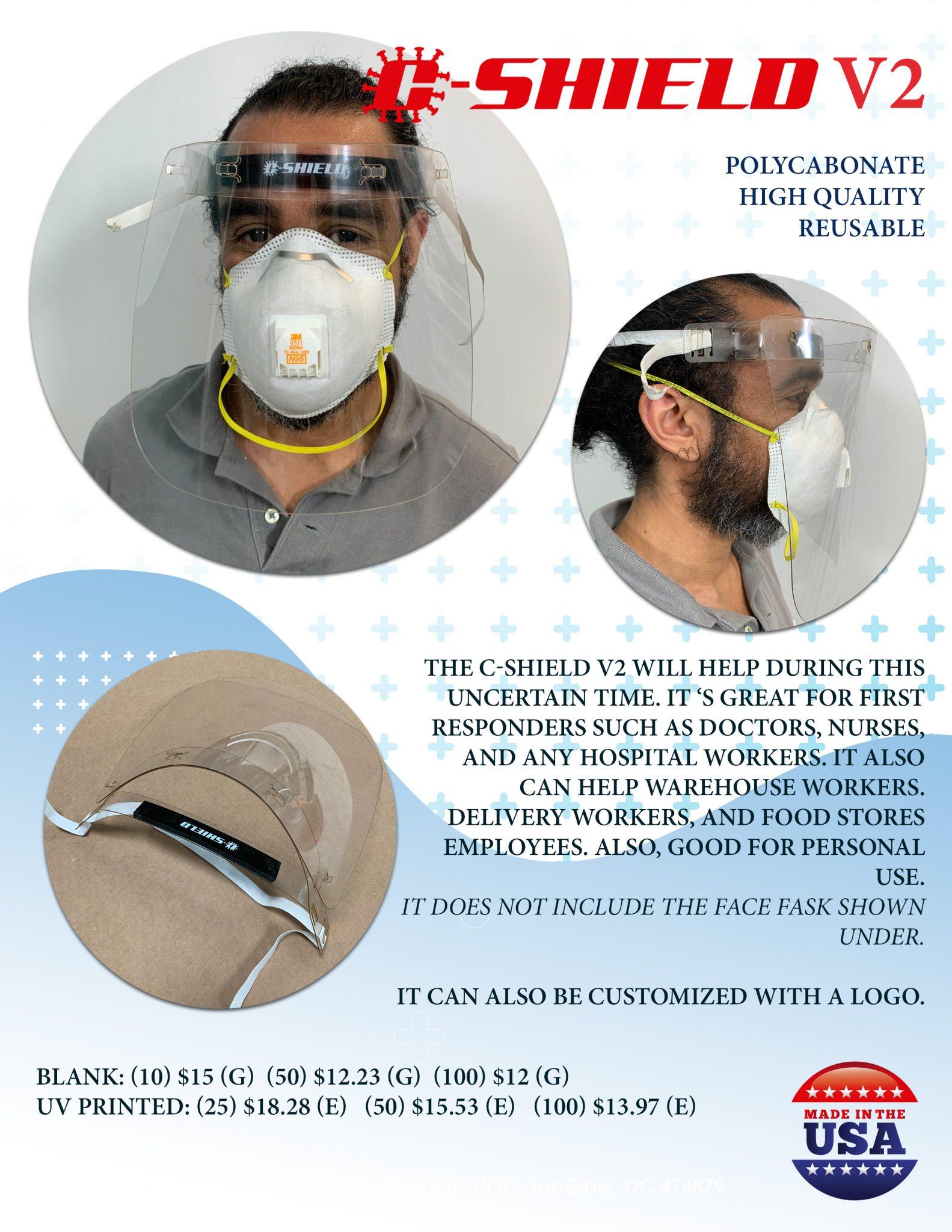 C-Shield Version 2 – New Design Wholesale Reseller Face Shields